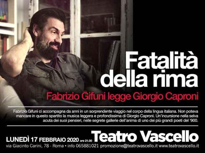 """Teatro Vascello """"Fatalità della rima"""""""